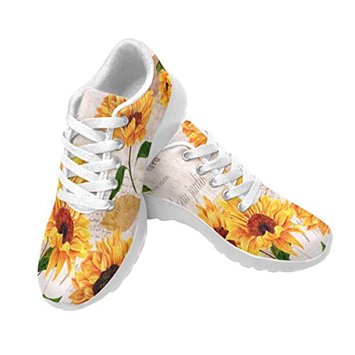 InterestPrint Women's Running Shoes Lightweight Non-Slip Breathable Walking Shoes US8 Vibrant Yellow Watercolor Sunflowers on Old Letters