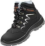 Zapatos de Seguridad Hombre Piel Forrado Invierno Cálidas Botas Punta de Anti-Piercing Zapatos de Trabajo Mujer Peso Ligero Impermeable Antideslizante Plus Cachemira Negro 42