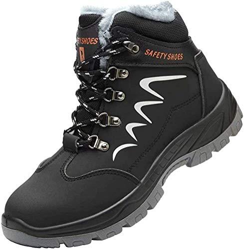 Zapatos de Seguridad Hombre Piel Forrado Invierno Cálidas Botas Punta de Anti-Piercing Zapatos de Trabajo Mujer Peso Ligero Impermeable Antideslizante Plus Cachemira Negro 36