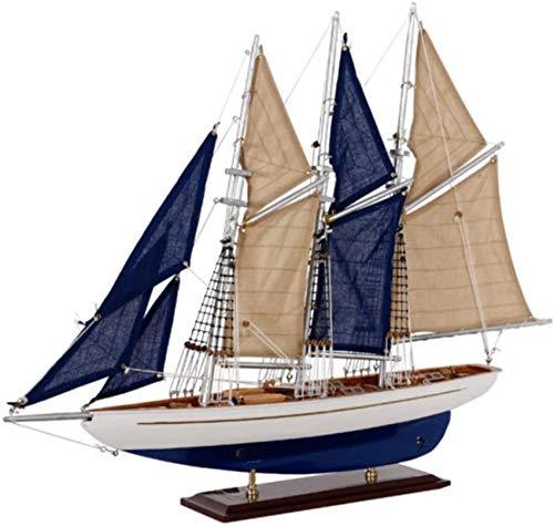 Decoraciones para la Sala de Estar Modelo de velero de Madera Blanco Azul Adornos de Barcos Minimalistas Modernos Artesanas Hechas a Mano Coleccin para el hogar Regalos creativos