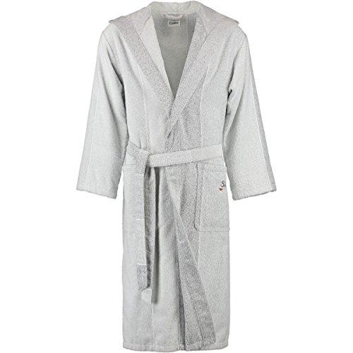 Cawö badjas 5006, S - XXL, zilvergrijs/wit, maat badjassen: XL