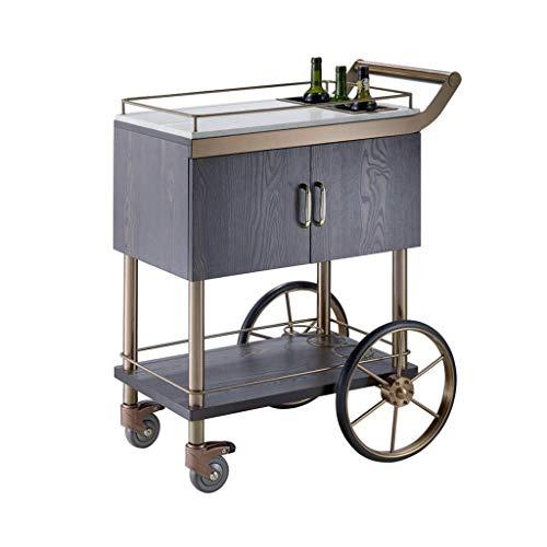 KEKEYANG Carrito Vino Carrito de la compra de té de acero inoxidable de cristal móvil Dining Car hotel de 3 capas de la compra Carro de la compra Pequeño (acero inoxidable Color, 108 * 90 * 58 CM) coc