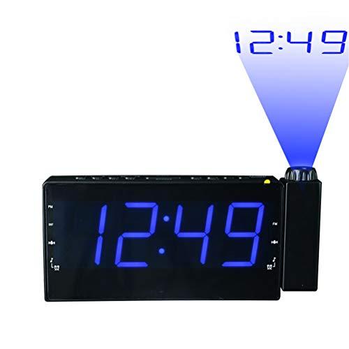 Projektion Digital Radio Wecker LED-Anzeige Für Schlafzimmer, Dual Laut Wecker Groß Mit USB-Anschluss, Batteriebackup, 180 ° Projektor FM-Radio-Uhr,Blau