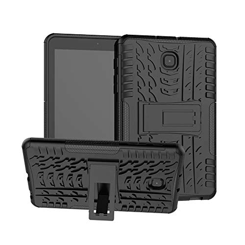 Tanxinxing For Samsung Galaxy Tab A 8.0 Inch (2018) SM-T387 Tablet Dual Layer Hybrid Armor Kickstand 2 In 1 Shockproof Cover (Color : Black)