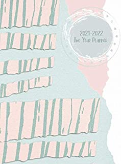 2021-2022 Two Year Planner: Peach & Green Torn Construction Paper Cover | 2 Year Calendar 2021-2022 Weekly Planner | 24 Mo...