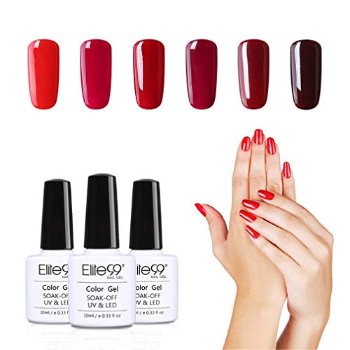 Elite99 bordeaux UV-nagellak set 6pcs, gel-nagellak UV-LED, kleurenset voor nagel ontwerp gel-lak, manicureset, losweken gel nagellak voor nail art set