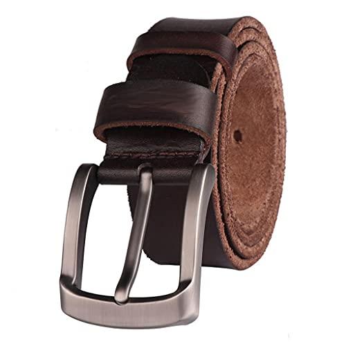 SSMDYLYM Cinturón de los Hombres Grano Completo Real Piel de Vacuno de la Capa Superior de la Capa Superior de Cuero Suave Pantalones Vaqueros Cinturones de Vaca para los Hombres (Color : B)