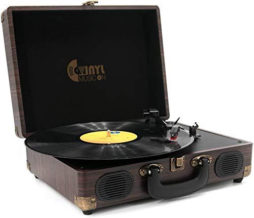 Tocadiscos de vinilo con 3 velocidades de VINYL MUSIC ON en forma de maleta con altavoces, tocadiscos, grabador portátil con salida RCA, entrada auxiliar y toma para auriculares