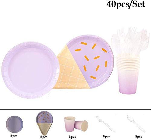 EL PAQUETE INCLUYE: Cada paquete contiene 61 piezas de vajilla para fiestas de helados, 8 piezas de tazas para la cena, 8 piezas de platos de cena, 8 piezas de platos de papel con forma de helado, 8 piezas de tenedor para la cena, 8 piezas de cuchara...