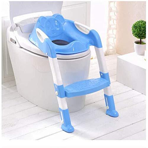 Zuoao Babytopf Hochstuhl mit Leiter verstellbaren Baby Toilettenstuhl mit stabilem rutschfestem Leiter, mit Trittleiter, bequemem Handgriff und Spritzschutz,Blue