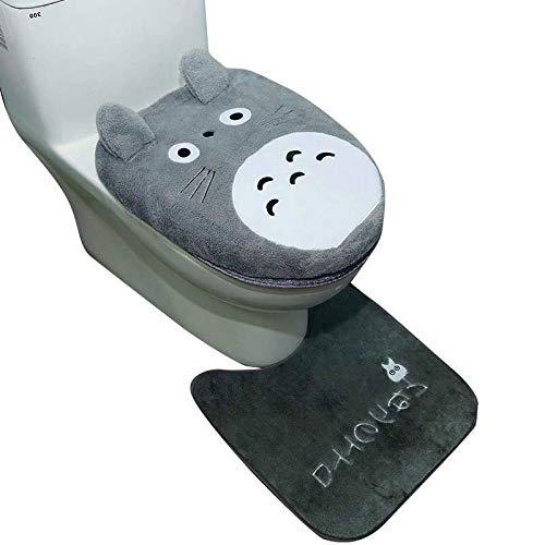 KEAINIDENI wc mat 3 stks/set dier stijl Totoro badkamer Warmer wc cover wc stoel kussen frame badkamer accessoires set wc stoel cover mat A