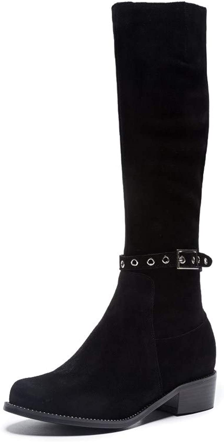Nine Seven Women's Suede Leather Chunky Heel Round Toe Full Zip Knee High Boots - Handmade Casual Winter Riding Boots