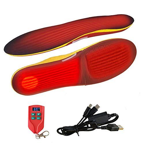 Plantillas calefactables de cuffslee, con mando a distancia, ajuste de temperatura de 3 niveles, tamaño ajustable, calentador de pies térmico para hombre y mujer S35-40, L41-46
