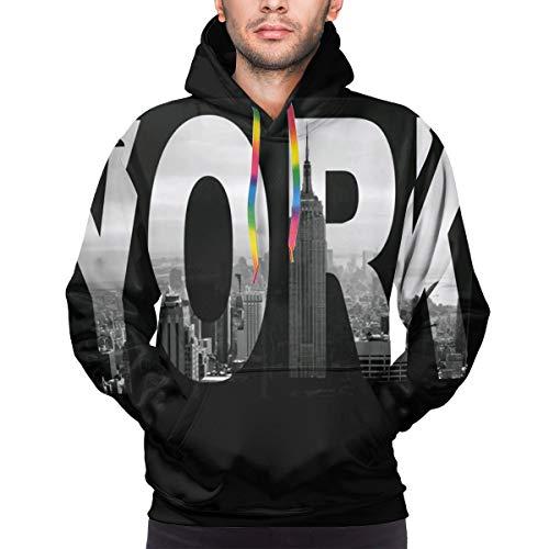 Long Sleeve Hoodie Sweatshirt for Men, I Love NY New York City View Size M Black