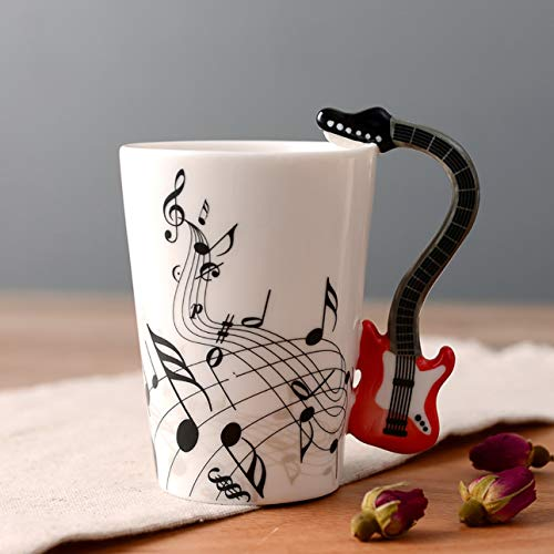 Ba30DEllylelly Tazas de cerámica pintadas a mano Notas creativas Tazas musicales Tazas de música Taza de café Regalos Instrumentos musicales