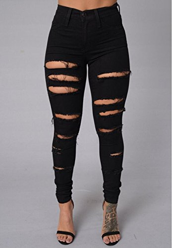 Lingswallow Women's Sexy Jeans Ripped Hole Skinny Fit Leggings Denim Pants Black