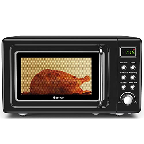 COSTWAY Retro Countertop Microwave Oven, 0.7Cu.ft, 700-Watt, High Energy Efficiency, 5 Micro Power,...