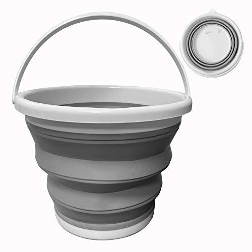 Cubo de agua plegable de 10 l, cubo cuadrado redondo de silicona de plástico para camping, pesca, viajes, lavado de coches (redondo gris)