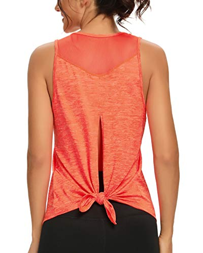Quccefods Workout Tops for Women Open-Back Yoga Shirts Racerback Mesh Athletic Exercise Running Tank Tops (Orange, Small)