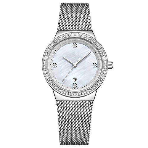 QHG Vestido de muñeca de Cuarzo Relojes de Mujer Pulsera de Plata Reloj de Las señoras Reloj de Acero Inoxidable Reloj de Agua a Prueba de Agua (Color : D)