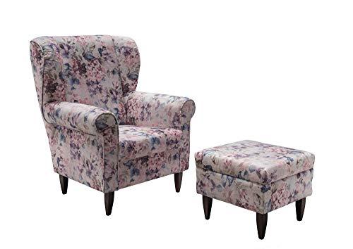 lifestyle4living Ohrensessel mit Hocker in Blumenmuster Vintage | Der perfekte Sessel für entspannte, Lange Fernseh- und Leseabende. Abschalten und genießen!