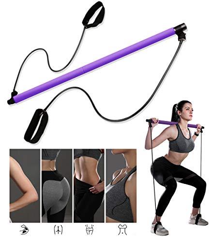 YAJIAN Pilates Stick Bar Kit mit Widerstandsband Multifunktionale Yogastange mit Fußschlaufe Sportgerät Expander Arm Zieher Für Fitnessgeräte Brust-Expander Bodybuilding Training