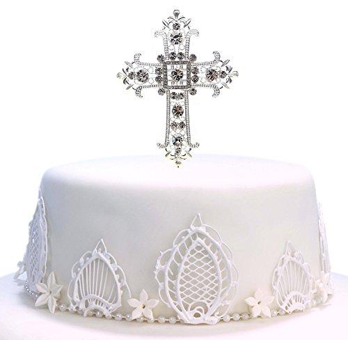 Decoración para tartas de cruz, de plata, para boda, primera comunión, bautizo, bautizo, decoración de recuerdos de la iglesia plata