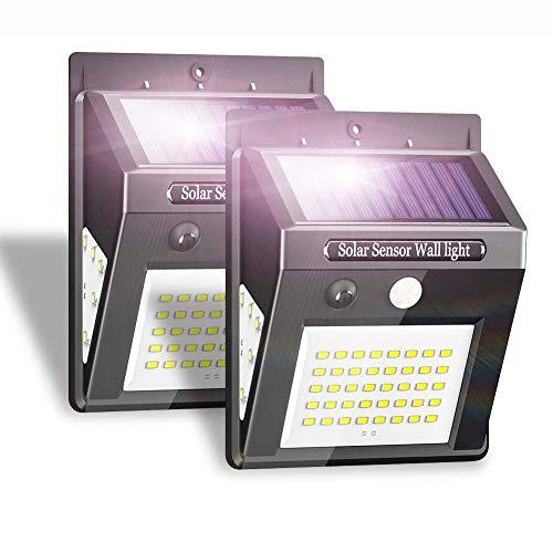 Solarlampen für Außen mit Bewegungsmelder Wasserdicht IP65, Extrem Hell 50 LED Solarleuchten Wandleuchte für Außen Garten, Solar Beleuchtung 3 Modi, Kabelloses Solarlampe Aussenleuchte (2 Stück)