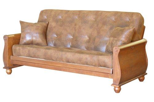 Hot Sale Big Tree Furniture Bordeaux Full Size Futon Sofa Sleeper Set with 2 Matching Pillows