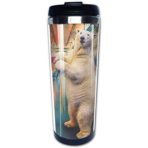 Tren expreso polar Divertido oso polar tazas de café botella de agua de acero inoxidable taza taza de viaje vaso de café