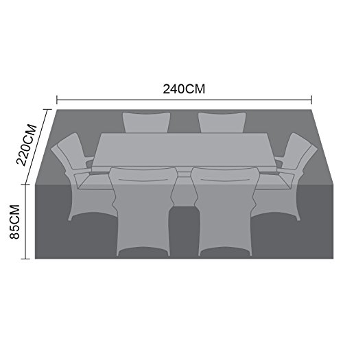 Nova Outdoor Living Garden Table Chairs Patio Furniture PVC Protector Weatherproof Cover for Large 6 Seat Rectangular Dining Set, Black, W: 240cm (94') D: 220cm (87') H: 85cm (33')