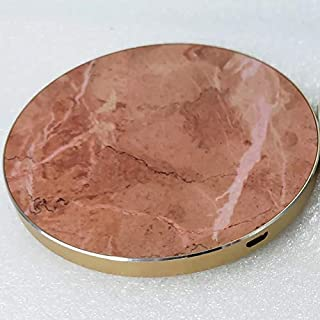 Real Marble 7.5W Wireless Charger Compatible All Qi-Enabled Phones Wireless Charging pad (iPhone Xs XS/MAX/XR/X/8/8 Plus, Samsung Galaxy S10/S10 Plus/S10E/S9) (Brown Marble/Golden Case)