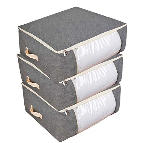 Qozary 3 Pack Underbed Storage Bags, 53L Clothes Storage Bag with Zips, Duvet Bedding Storage Bag, Large Storage Bags for Quilt, Blankets, Moving, Made of Better, Comfortable and No-Smell Fabric