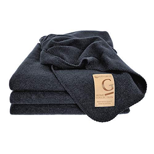 GIESSWEIN Wolldecke Marie - Decke aus 100% Lammwolle, Warme Wolldecke aus Reiner Schurwolle, Weiche Kuscheldecke, edle Tagesdecke, atmungsaktive Schurwolldecke, 190 x 145 cm