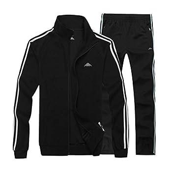 Real Spark Men s Athletic Full-zip Jogger Sweat Suit Sports Sets Casual Tracksuit Black XXXL