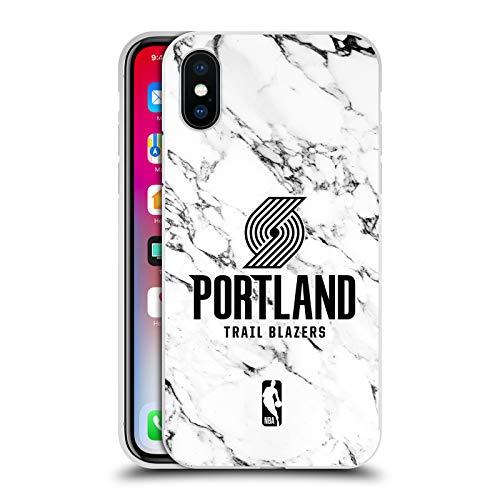 Officiële NBA Wit marmer 2018/19 Portland Trail Blazers Zilver Metallic Aluminium Bumper Compatibel voor Apple iPhone X/iPhone XS
