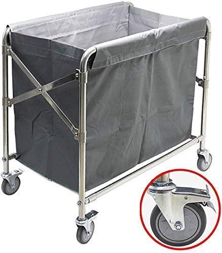 Dljyy Cart, Medical Cart, eetwagen, recoger, Folding Commercial Laundry Sorter Wagen met remwiel Hotel Kamerservice Wassen Colleactor Trolley met afneembare zak, Brown, 86 × 52 × 82cm