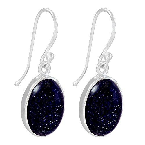 I-be, Blaufluss Edelstein Ohrringe oval 925 Silber, Länge 3,3 cm im Geschenketui, 391012 g S