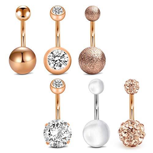 14G 10mm Stab Bauchnabelpiercing Chirurgenstahl Damen Herren Bauchnabel Piercing Körperschmuck Piercing 6 Stück - Rose gold