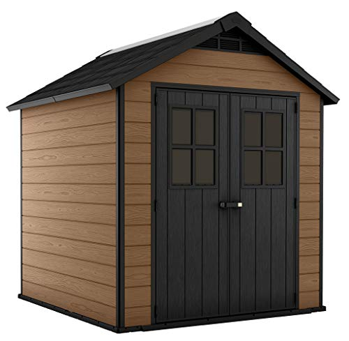 KETER Newton 7.5x7 Large Resin Outdoor Storage Shed Kit – Perfect to Store Patio Furniture, Garden Tools, Bike Accessories, and Lawn Mower, Mahogany Brown