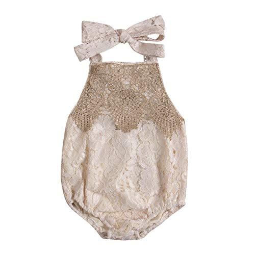 Tianhaik Baby Pasgeboren Meisje Romper Zomer Kant Halter Mouwloos Bodysuit Jumpsuit Outfits voor Feest, Casual
