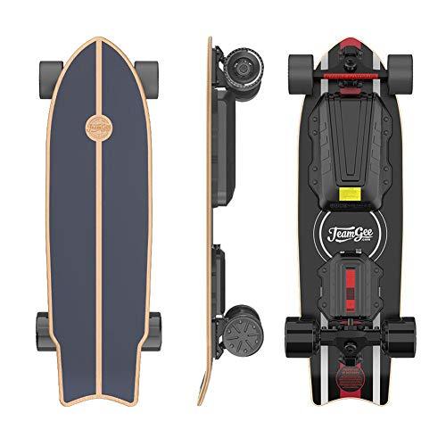 Teamgee H20 Mini Elektro Skateboard 80cm mit Drahtloser Bluetooth Fernbedienung,Longboard Skateboard für Jugendliche und Erwachsene,38 KM/H Höchstgeschwindigkeit,28KM Reichweite, 900W Nabenmotoren
