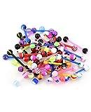 VCMART Juego de 50 barras UV para lengua y pezón, 16 mm, plástico flexible, 14 g, para piercing Bioflex