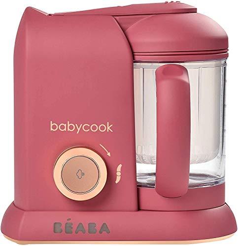 BÉABA - Babycook Solo, Cuocipappa Omogeneizzatore, Cottura a Vapore, Robot per Pappe 4 in 1 : Mixer + Cottura, Neonato e Bambino, Made in France, Litchee