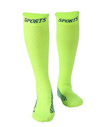 DEBAIJIA 1 Paar Unisex Sport Kompressionsstrümpfe Fußballstutzen Funktionelle Sportsocken, Sprunggelenkschutz, Mittelfußstütze für Laufen, Radfahren, Erholung, Blutzirkulation - Neongrün L