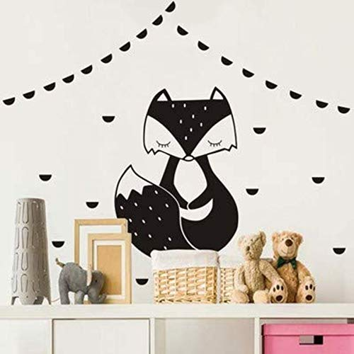 Custom Wall Stickernordic Style Black Forest Fox Home Children'S Room Creative Decoration Removable Wall Stickers Wallpaper