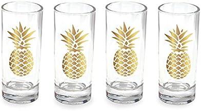 Wild Eye Designs Shot Glass Set of 4, Gold Pineapple