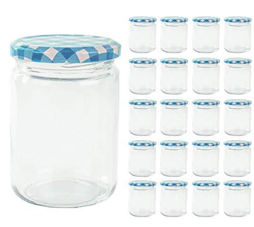 Lot de 20 bocaux à confiture de 350 ml bocaux en verre Verre Bleu à carreaux Couvercle