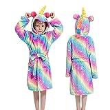 Kinder Bademantel für Mädchen Pyjama KinderJungen Bademäntel Nachthemd Baby Nachtwäsche Hoodie Bademantel-Rainbow stars-3-3T