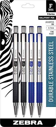 Zebra Pens Fine Point F 301, Combo Pack of 2 BLACK INK & 2 BLUE INK metal pens (Total of 4 Pens), Ballpoint Stainless Steel Retractable 0.7mm fine point ink pens